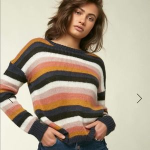 O'Neill Striped Daze Relaxed Fit Sweater Crew Neck Size XL